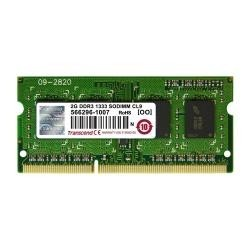 Transcend MEMORIA RAM 2 GB, PC3-10600, DDR3, SO-DIMM, 1333 MHz